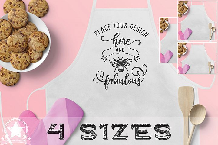 4 Apron Mockups, Cute Blush Pink Kitchen Mockup with cookies