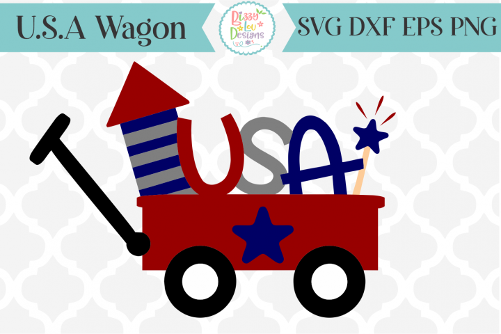 USA Red Wagon SVG Cutting File