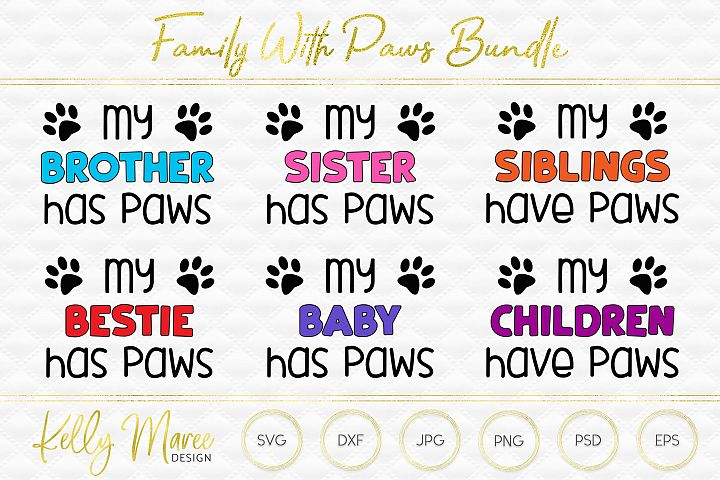 Family With Paws SVG Files Bundle | Dog SVG