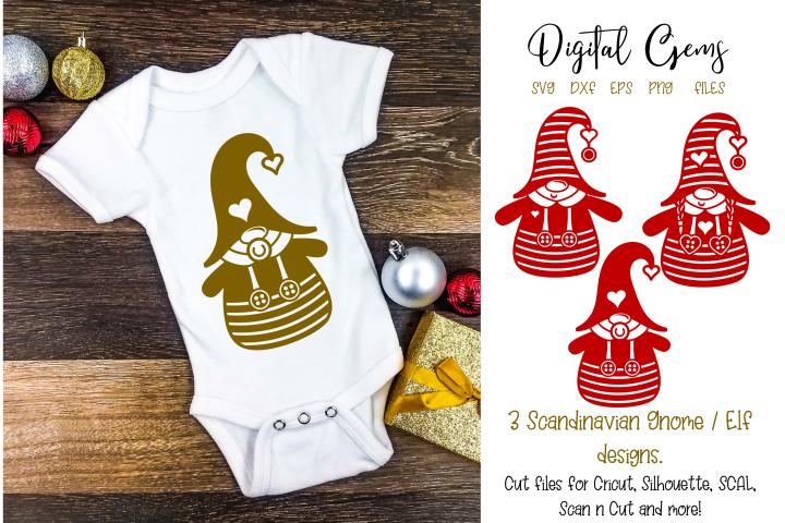 Scandinavian elf / gnome boy, girl and baby, Christmas