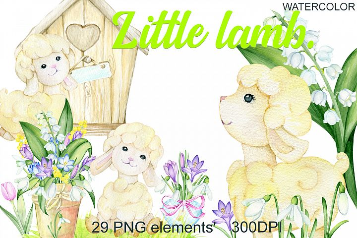 Watercolor Easter Lamb Clipart. Baby Happy Easter set