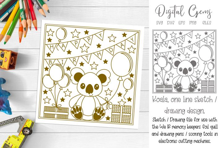 Koala, Birthday single line sketch file. For foil quill