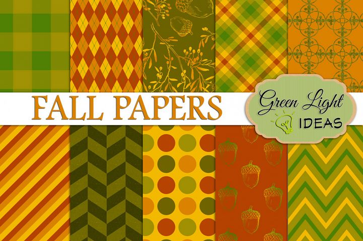 Fall Digital Papers, Autumn Backgrounds, Thanksgiving Scrapbook Papers