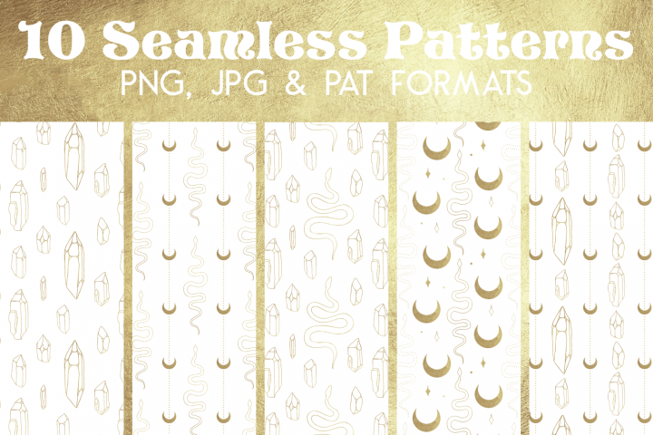 Gold White Snake Crystal Paper - Seamless Photoshop Pattern