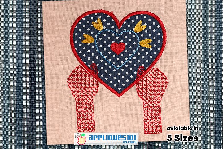 Hands With Heart Machine Embroidery Applique Design - Hearts