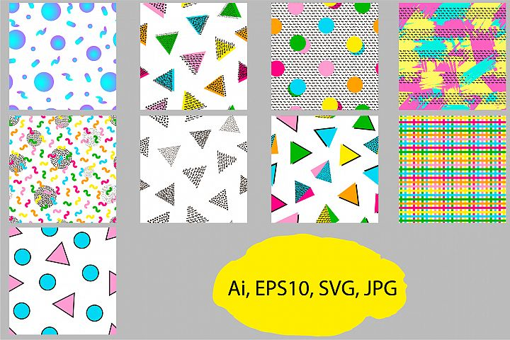 9 Geometric seamless patterns. Ai, EPS, JPG, SVG