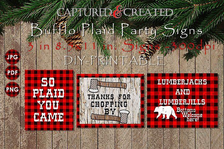 Buffalo Plaid Party Signs/ Wordart /Sayings