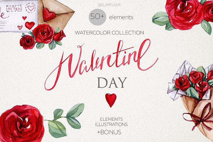 Watercolor VALENTINE DAY collection