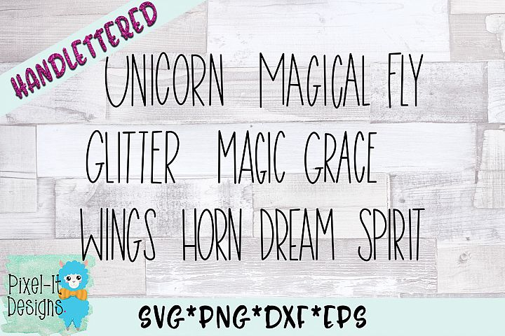 Unicorn Words Hand Lettered SVG Cut File