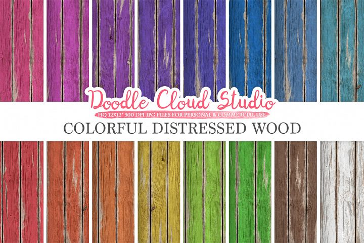 Colorful Distressed Wood digital paper, Bright Colors, Old Fence Wood Backgrounds Real Rustic Wood textures, Instant Download Commercial Use