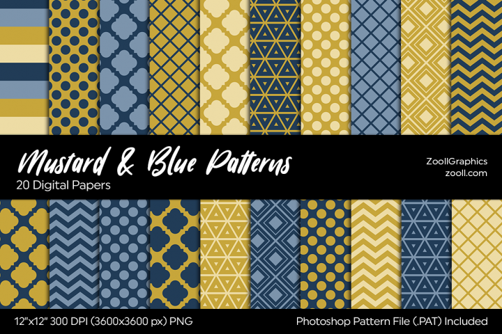 Mustard And Blue Digital Papers