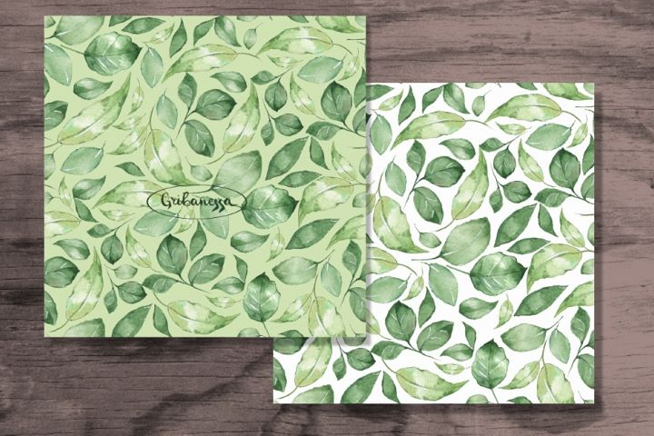 Green leaves. Watercolor patterns