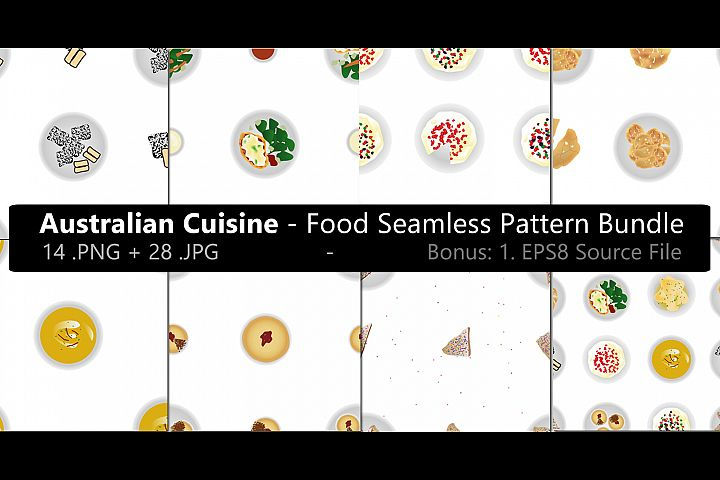 Australian Cuisine Food Seamless Pattern Bundle