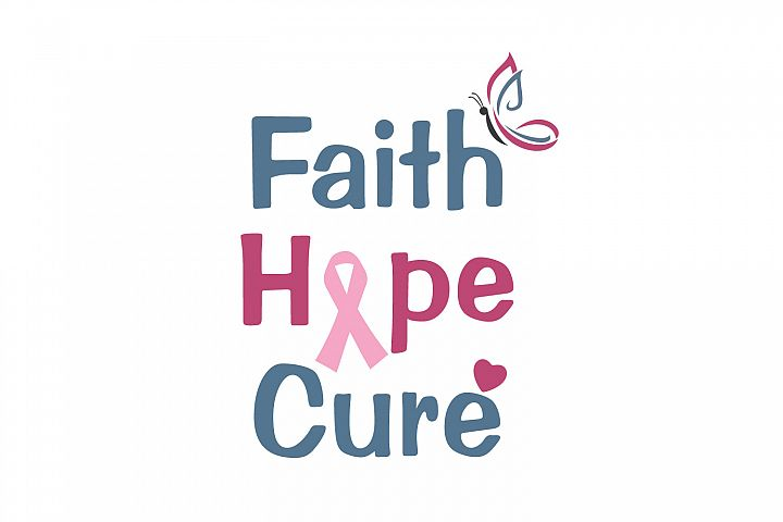 Faith, Hope and Cure. Breast cancer awareness symbol.