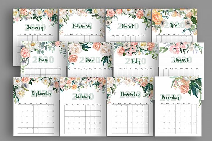 2020 Watercolor Flowers Roses Peonies Calendar Printable