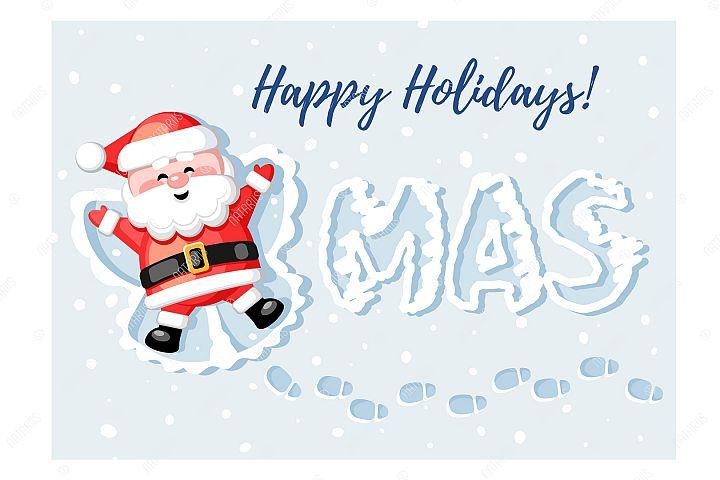 Merry Christmas! Happy Holidays! Funny Santa Claus.