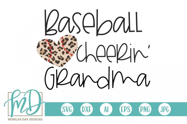 Leopard Baseball Heart - Baseball Cheerin Grandma SVG
