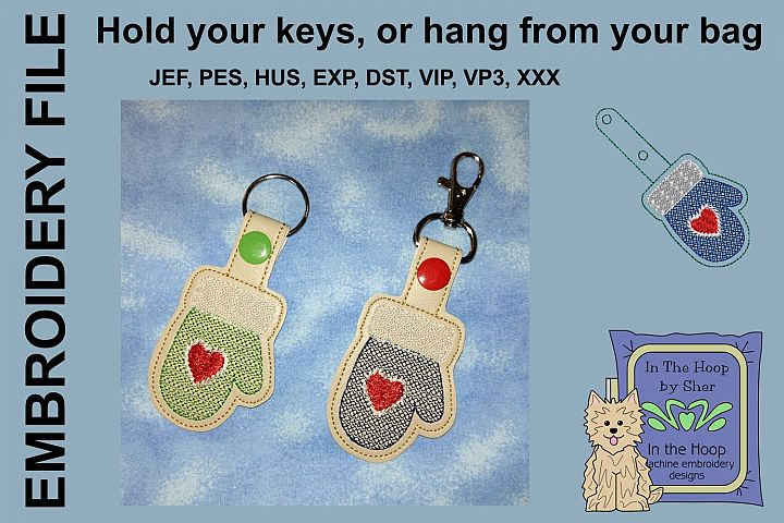 ITH Mitten Cookie Vinyl Key Fob or Bag Tag - Snap