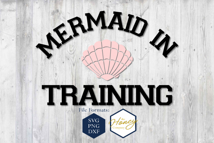 Mermaid in Training SVG PNG DXF Shell Summer Cut File