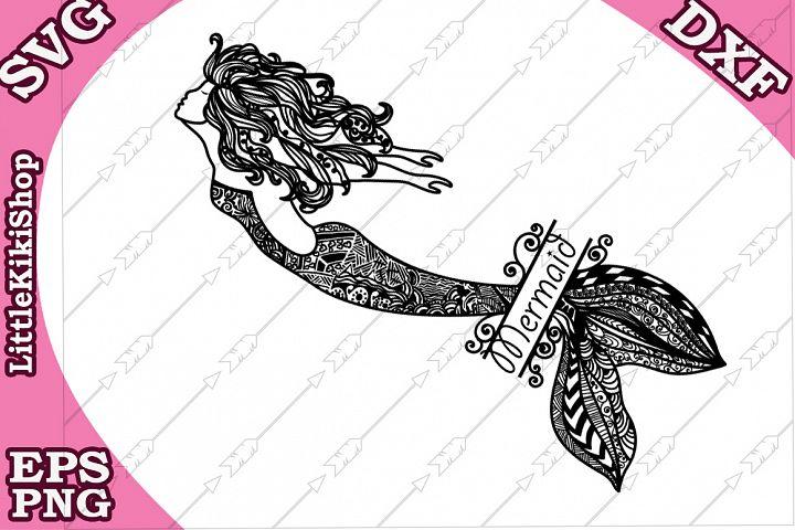 Mermaid Monogram Svg ,Mandala Mermaid Svg,Mermaid cut files
