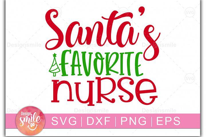 Santas Favorite Nurse SVG| Christmas SVG