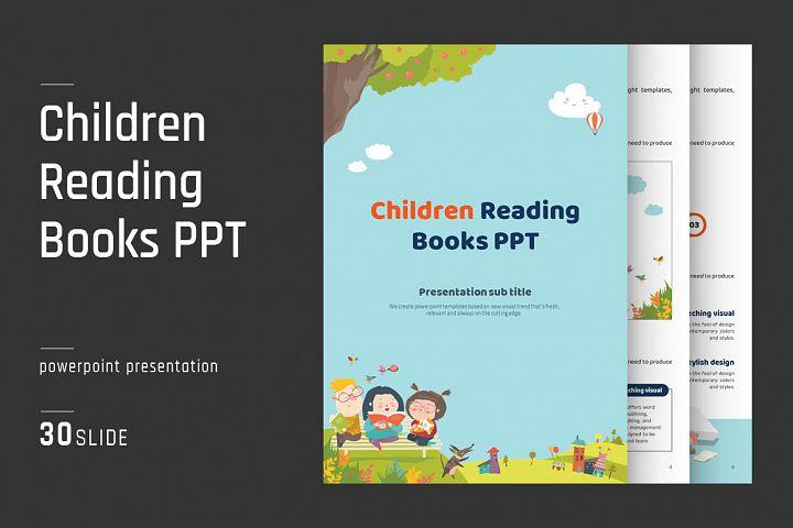 Children Reading Books PPT Vertical