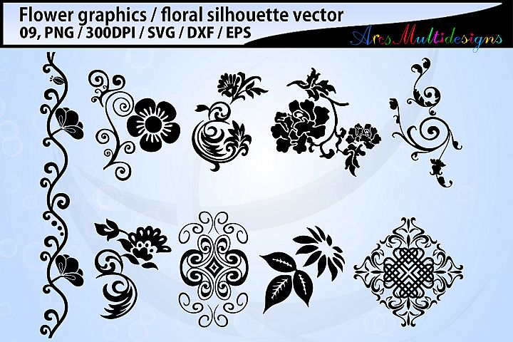 Flowers SVG / Flowers vector / Floral svg silhouette
