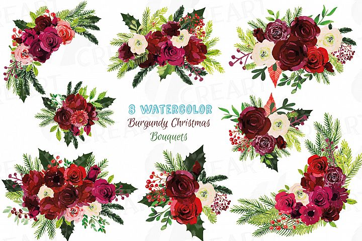 Watercolor burgundy red Christmas bouquets, holiday floral