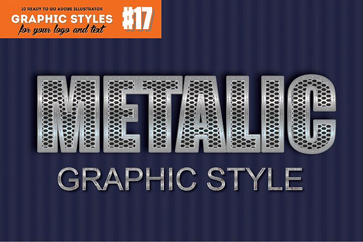 10 Metalic Chrome Graphic Style for Adobe Illustrator