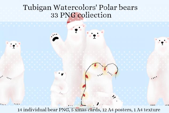 Holiday Polar Bears for Kids room, boy or girl