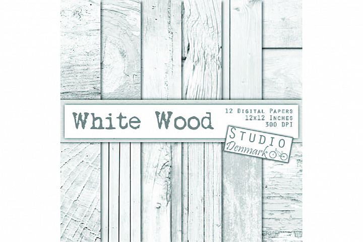 White Wood Digital Paper 12 Pack