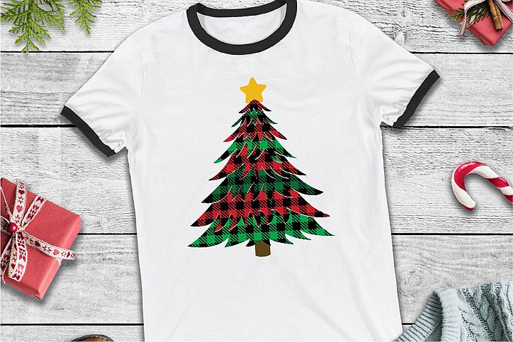Christmas Tree SVG, Buffalo Plaid SVG, Christmas Tree