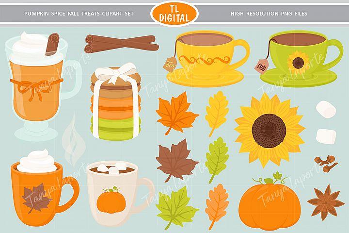Pumpkin Spice Fall Treats Clipart - 32 PNG Graphics
