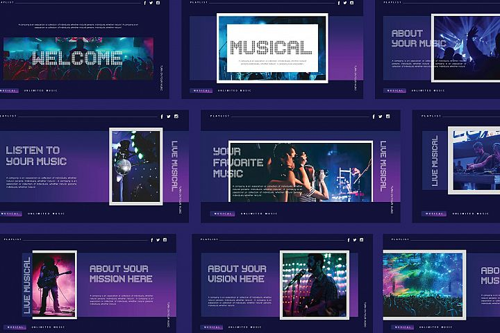 Playlist Music Powerpoint Template
