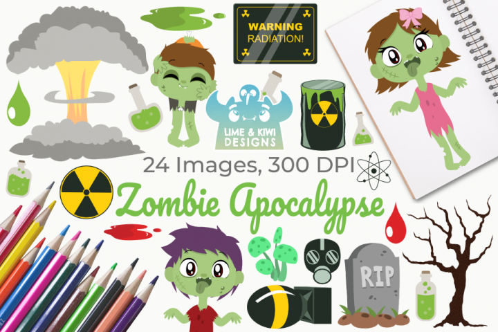 Zombie Apocalypse Digital Clipart, Instant Download