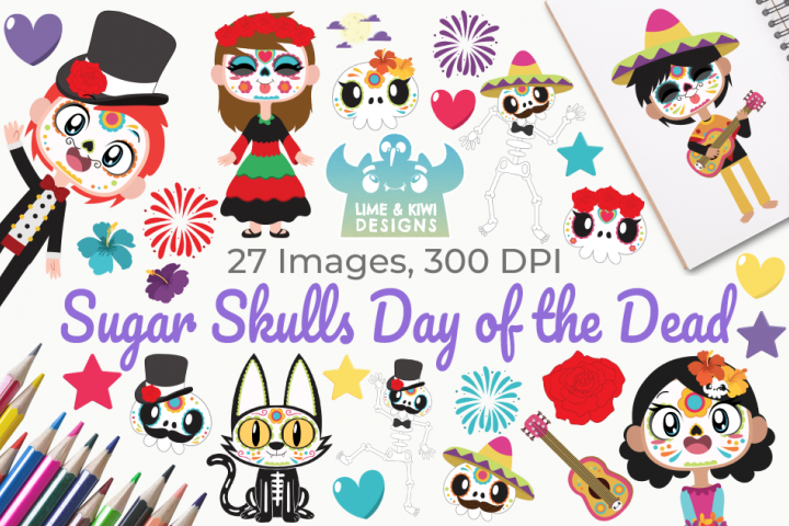 Sugar Skulls Day of the Dead Clipart, Instant Download