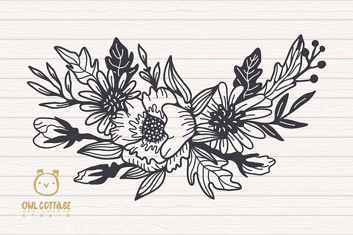 Flower Wreath SVG, Flower monogram svg example 2
