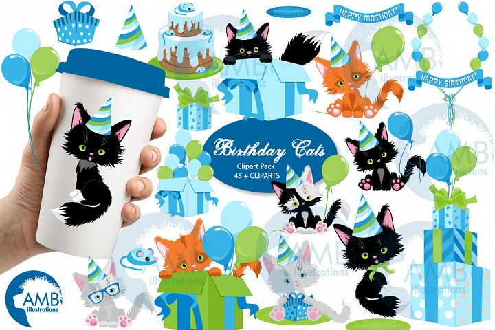 Birthday Cat cliparts, birthday kitten clipart AMB-2674