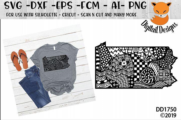 Zentangle Pennsylvania SVG Cut File
