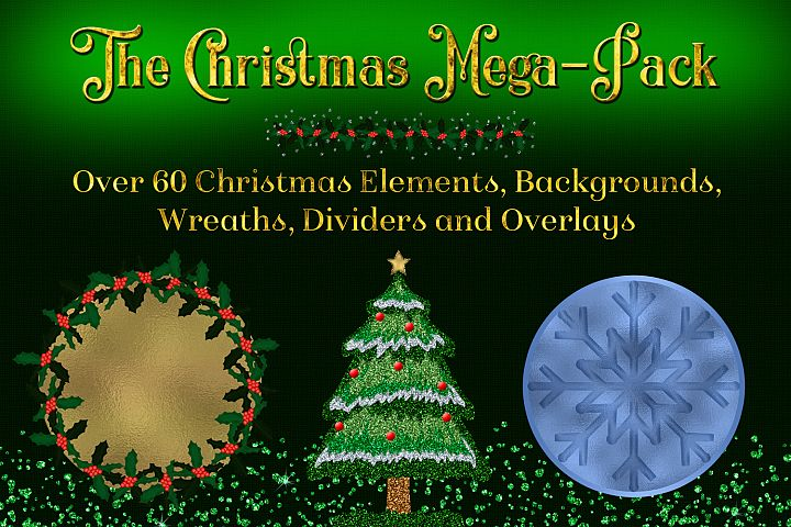 The Christmas Mega-Pack - with Backgrounds, Clipart, Wreaths