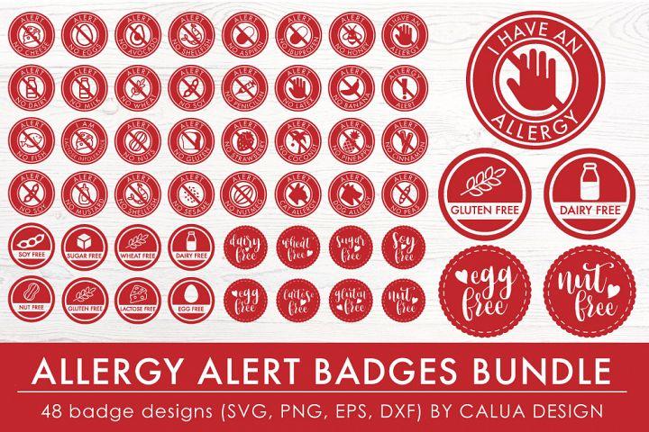 Allergy Alert Badges SVG Cut File Bundle