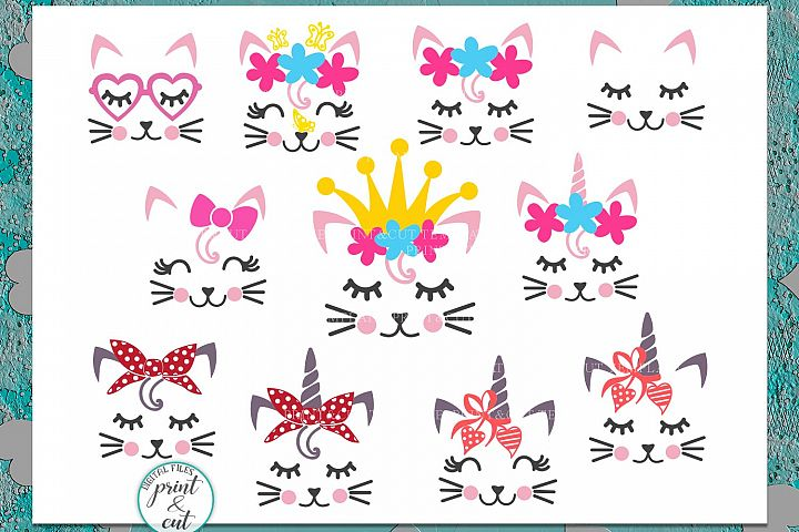 Cat Kitty face bundle with flowers hearts unicorn crown svg