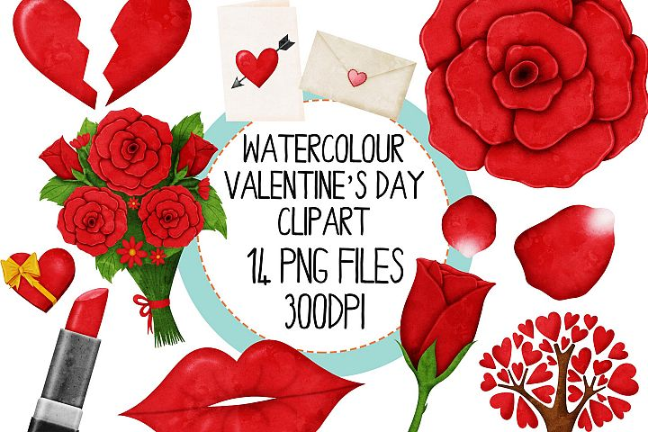 Watercolor Valentines Day Clipart Set 1