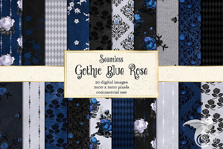 Gothic Blue Rose Digital Paper