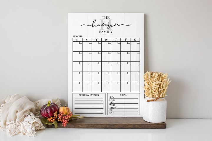 Customizable Family Calendar - Monthly Calendar SVG