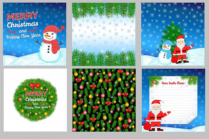 6 New Year and Christmas colorful backgrounds