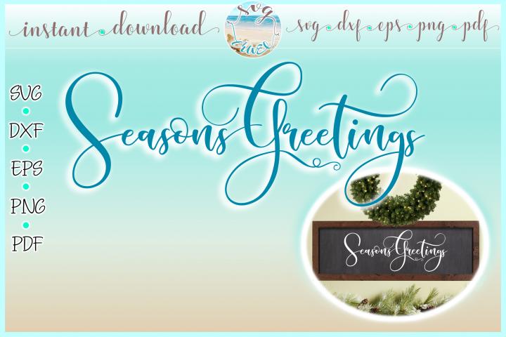 Seasons Greetings Horizontal Wood Sign SVG Dxf Eps Png PDF