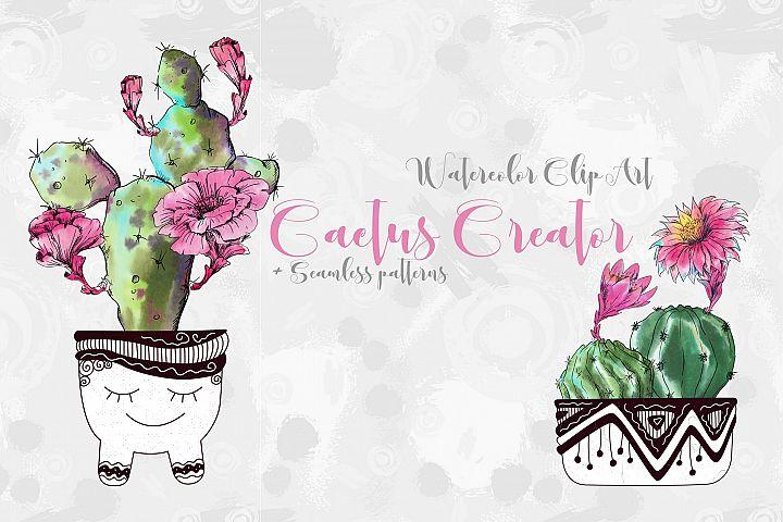 Watercolor Cactus Creator Pattern