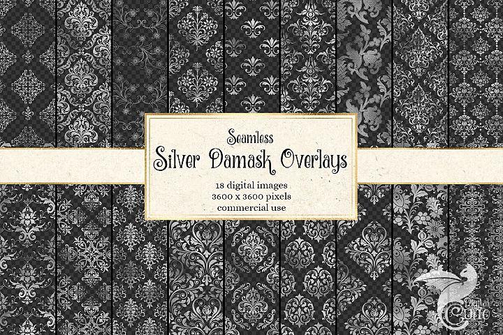 Silver Damask Pattern Overlays