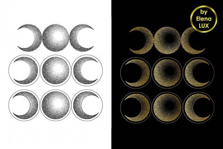Triple moon dotwork tattoo set